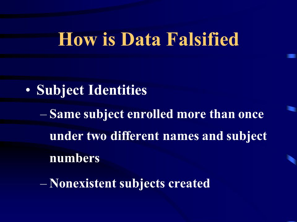 How is Data Falsified Subject Identities