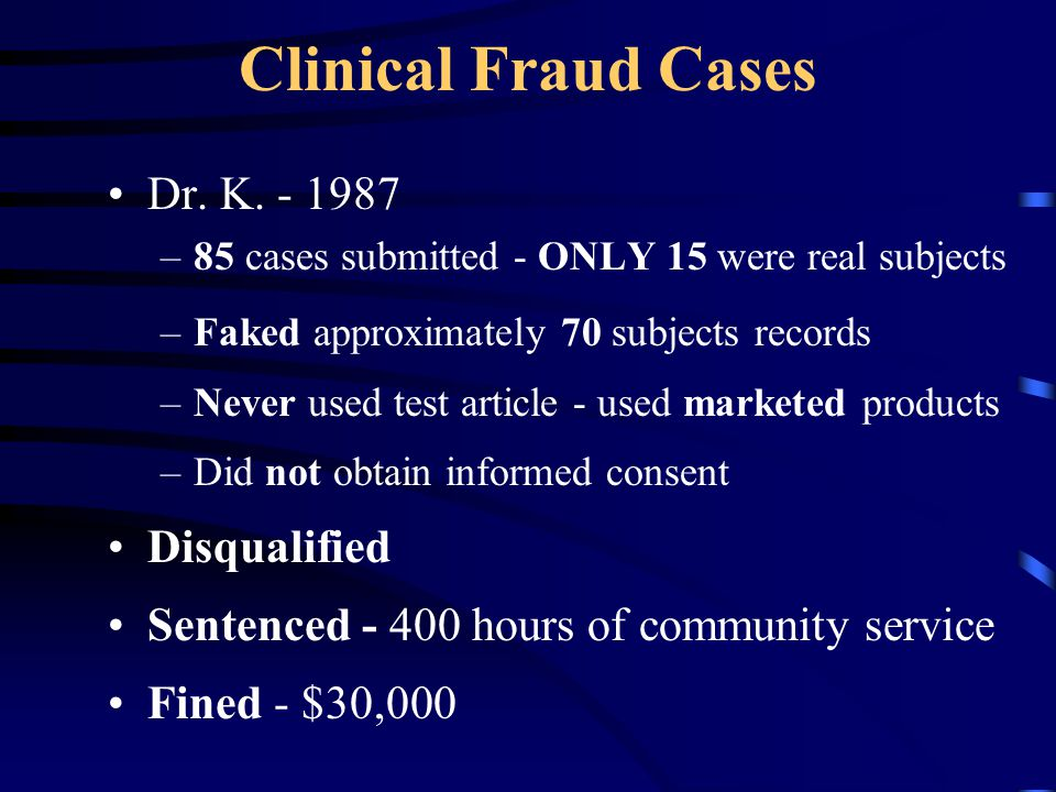Clinical Fraud Cases Dr. K. - 1987 Disqualified