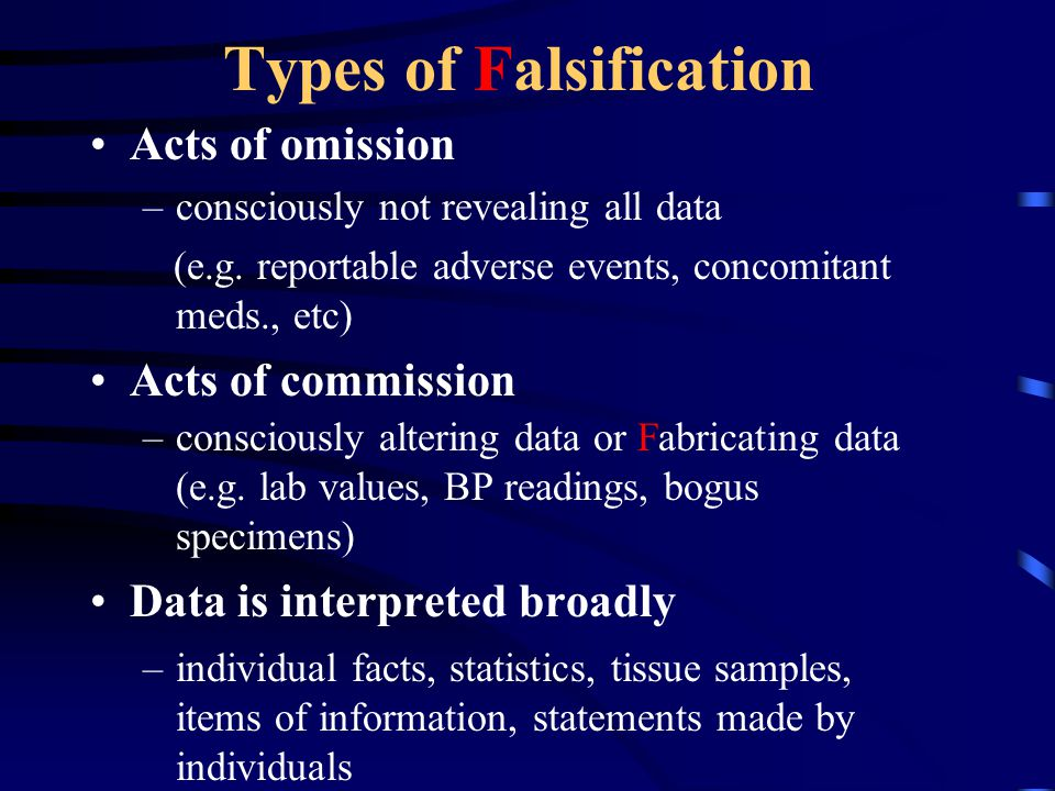 Types of Falsification