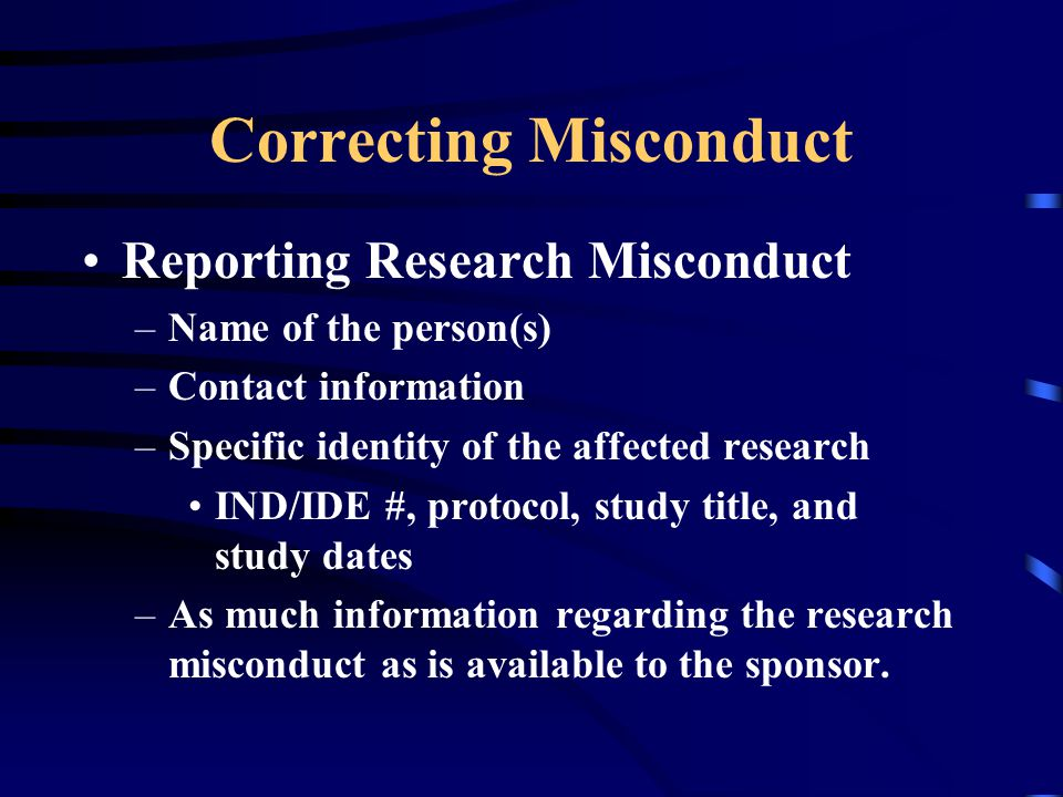 Correcting Misconduct