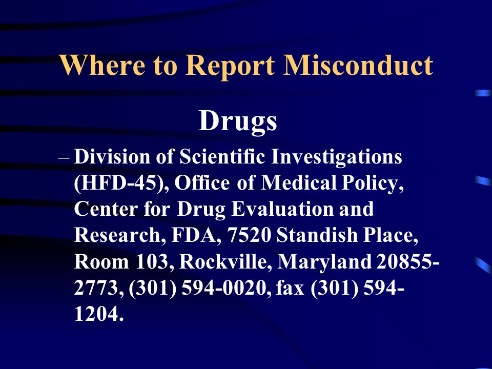 Where to Report Misconduct