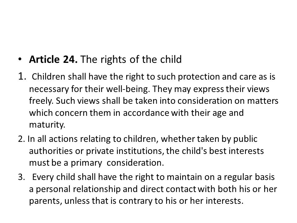 Article 24. The rights of the child