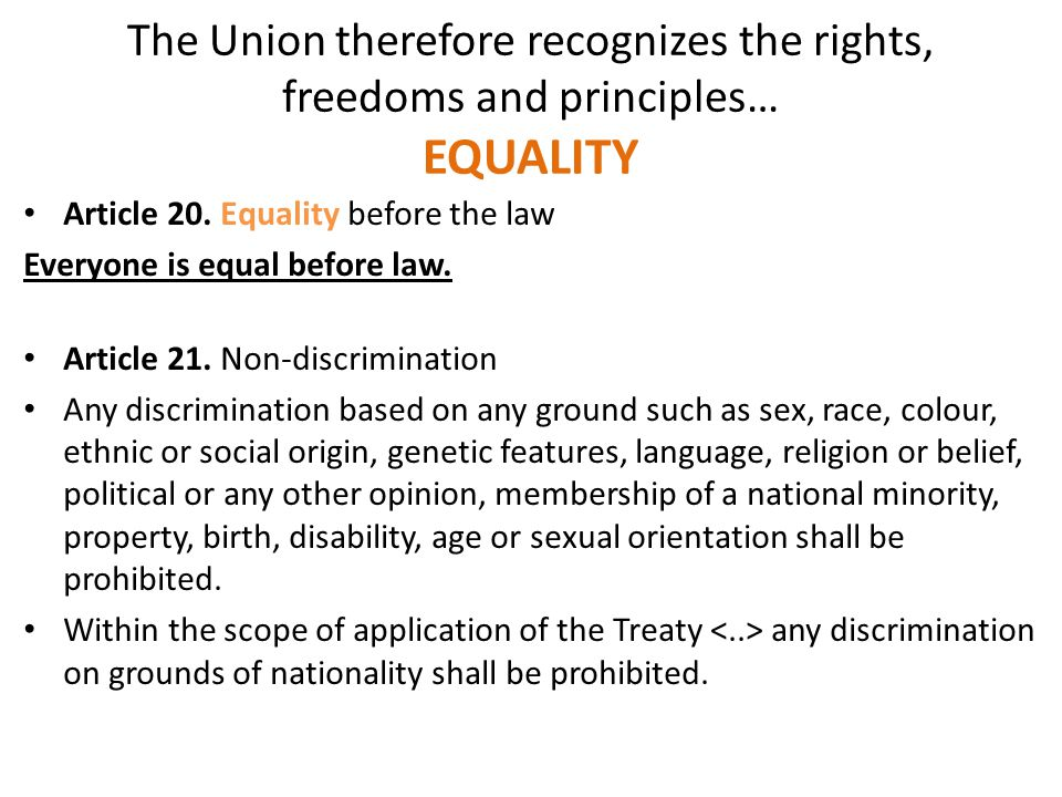 The Union therefore recognizes the rights, freedoms and principles… EQUALITY