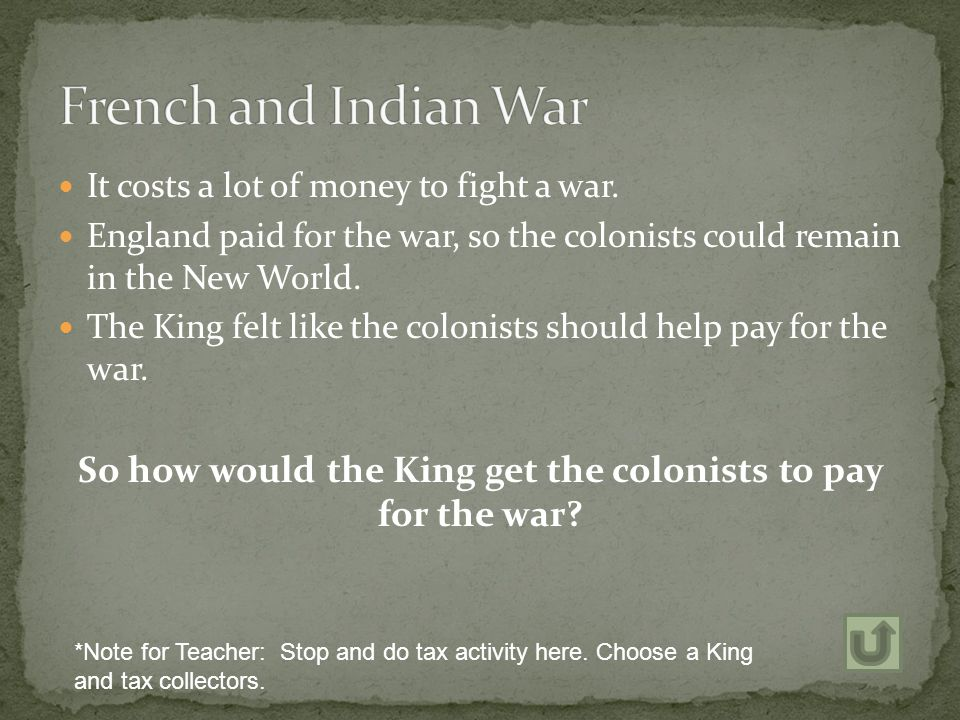 So how would the King get the colonists to pay for the war