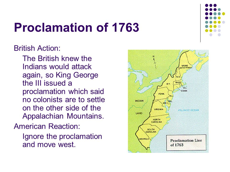Proclamation of 1763 British Action: