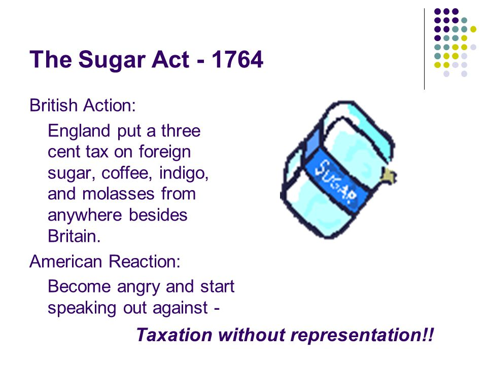 The Sugar Act - 1764 Taxation without representation!! British Action: