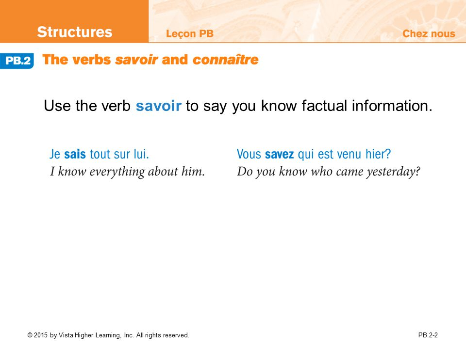 Use the verb savoir to say you know factual information.