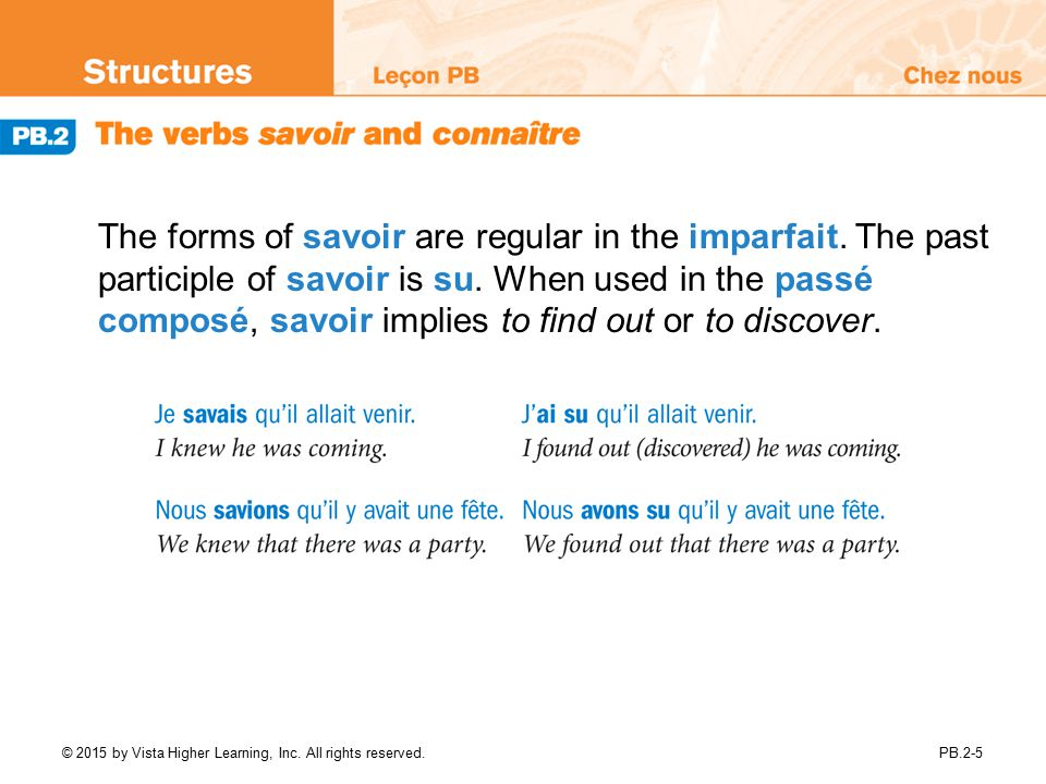 The forms of savoir are regular in the imparfait