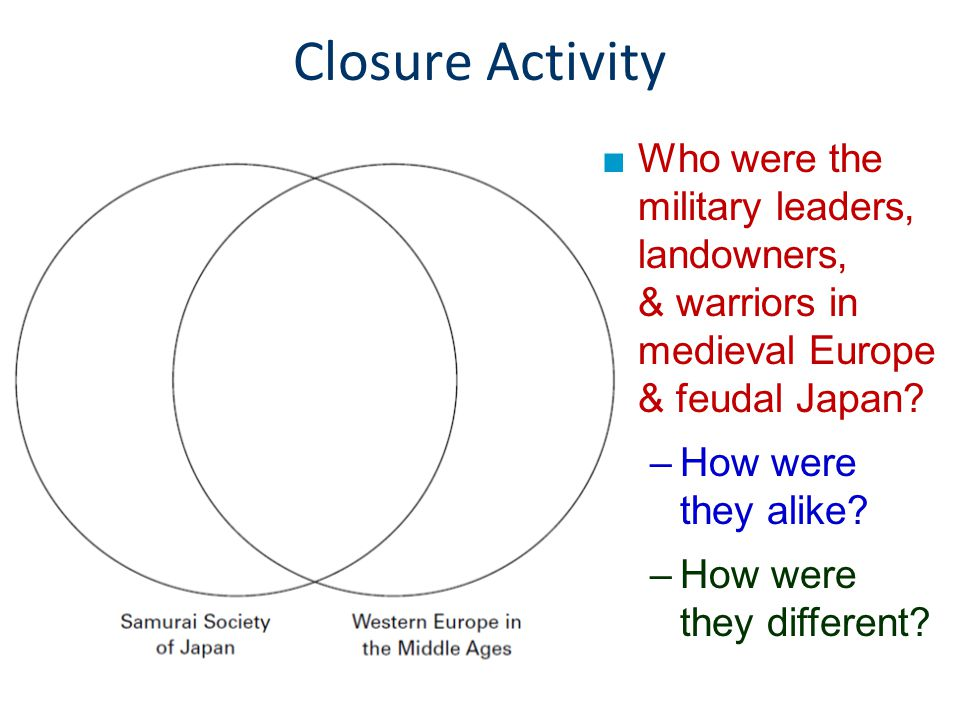 Closure Activity Who were the military leaders, landowners, & warriors in medieval Europe & feudal Japan
