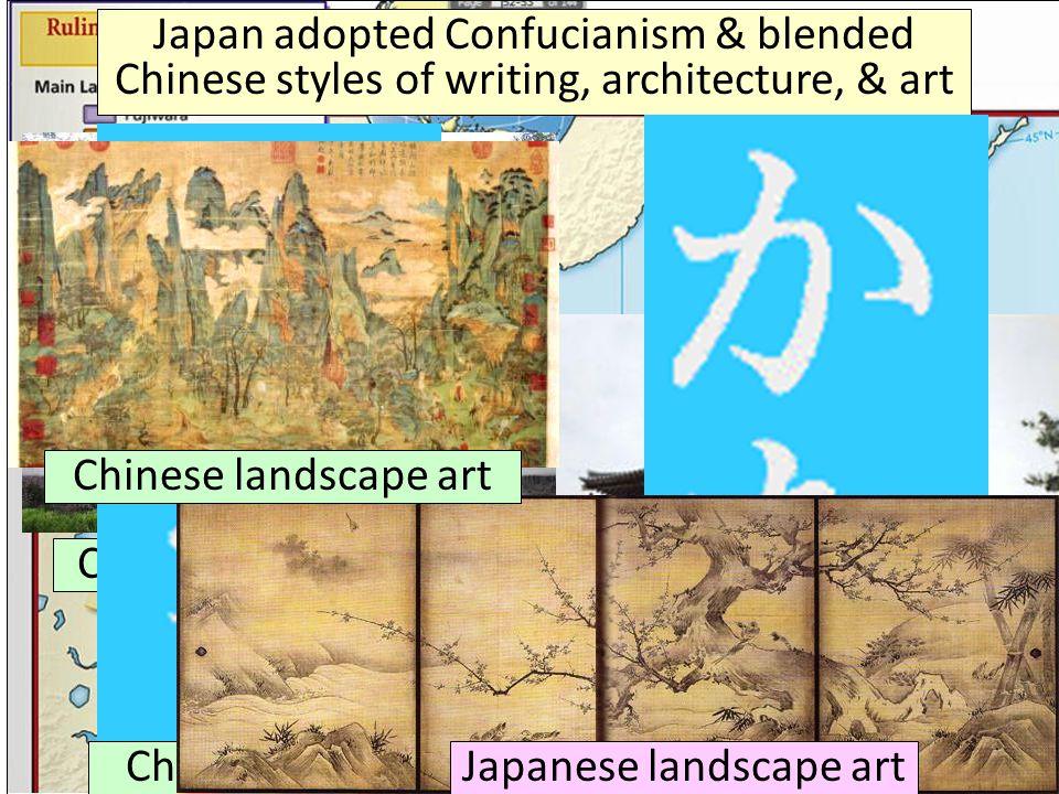 Japanese landscape art Japanese architecture Japanese writing