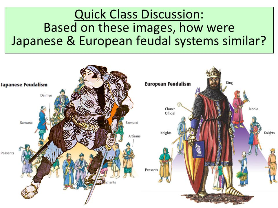 Quick Class Discussion: Based on these images, how were Japanese & European feudal systems similar