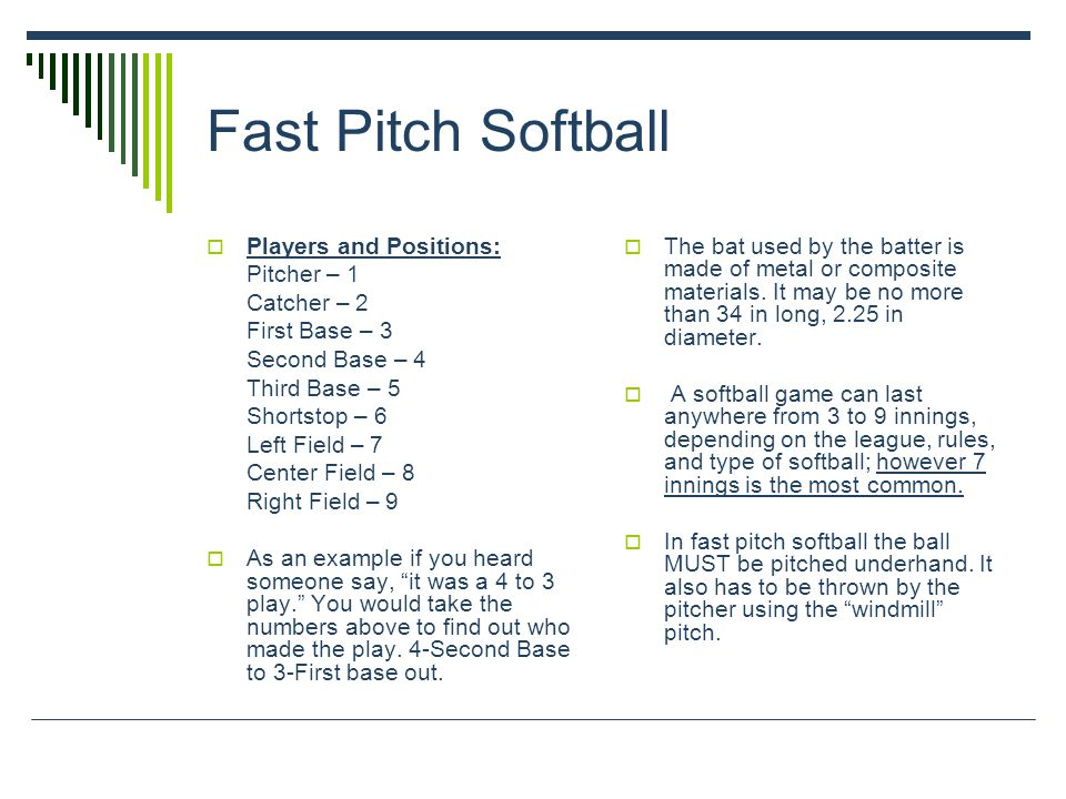 Fast Pitch Softball Players and Positions: Pitcher – 1 Catcher – 2