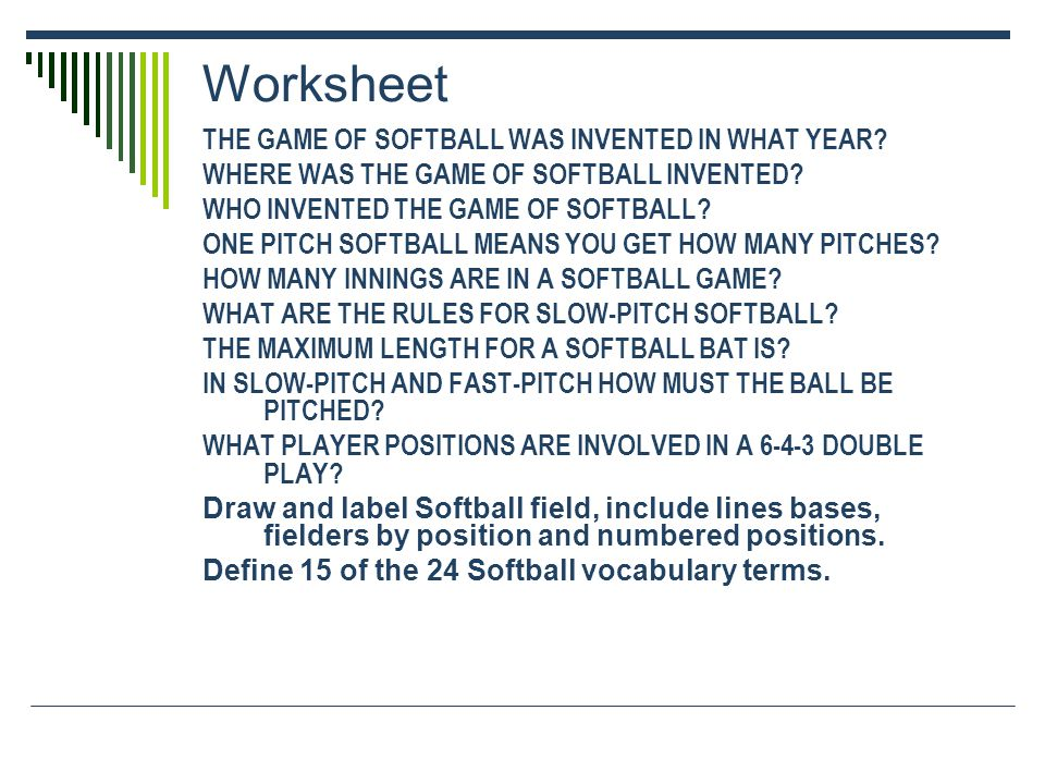 Worksheet THE GAME OF SOFTBALL WAS INVENTED IN WHAT YEAR