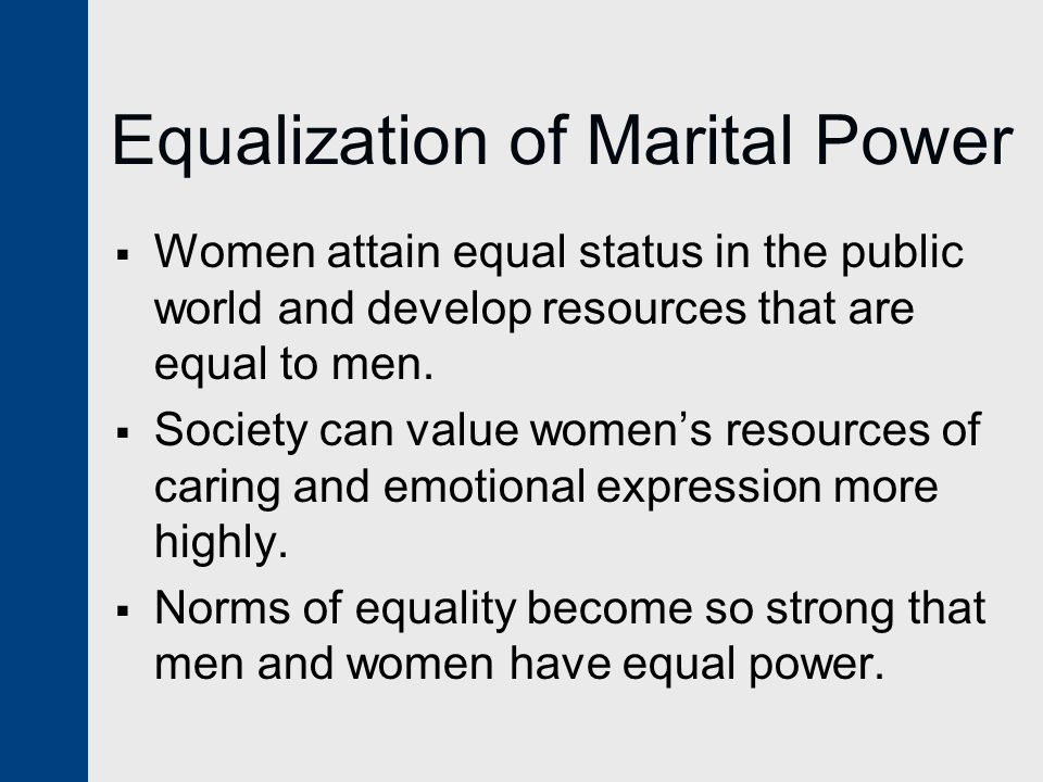 Equalization of Marital Power
