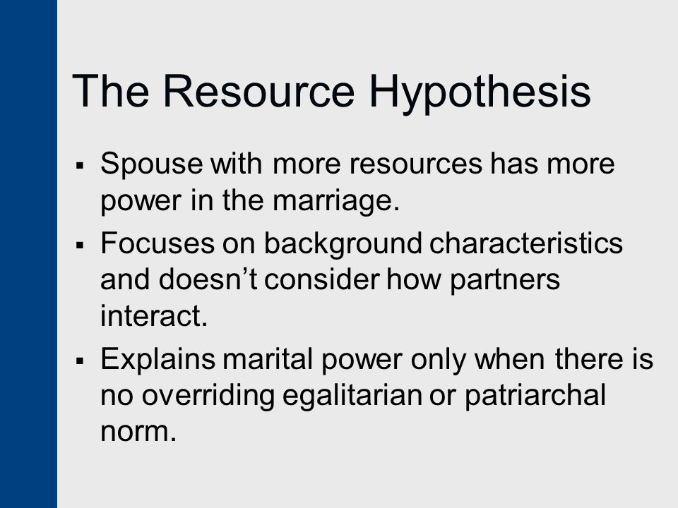 The Resource Hypothesis