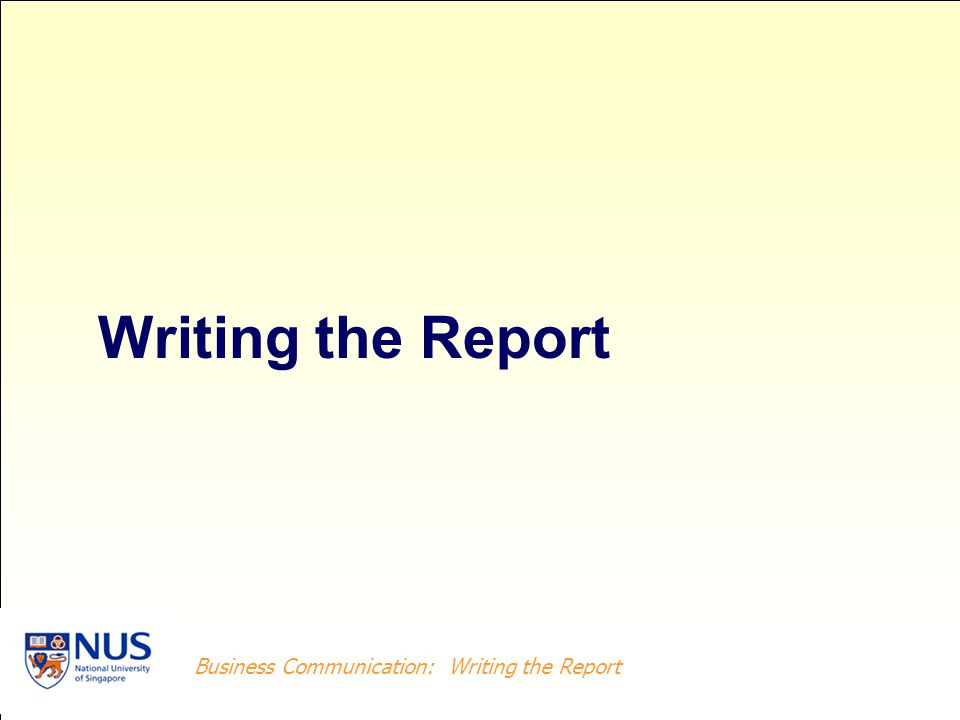 Writing the Report