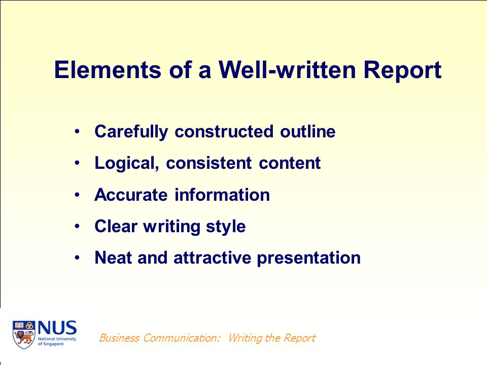Elements of a Well-written Report