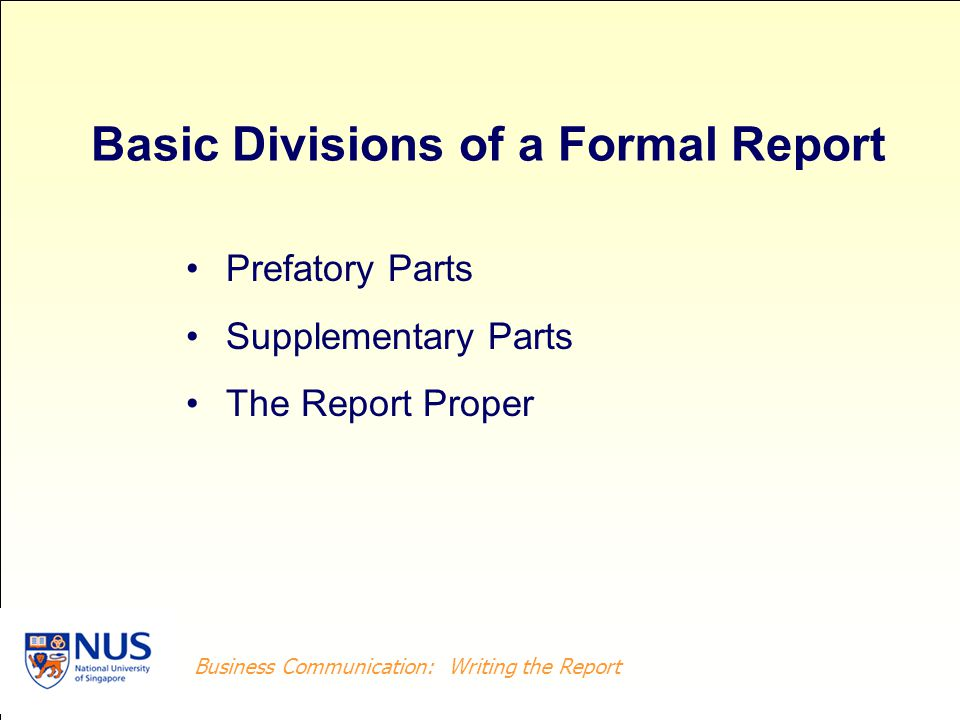 Basic Divisions of a Formal Report