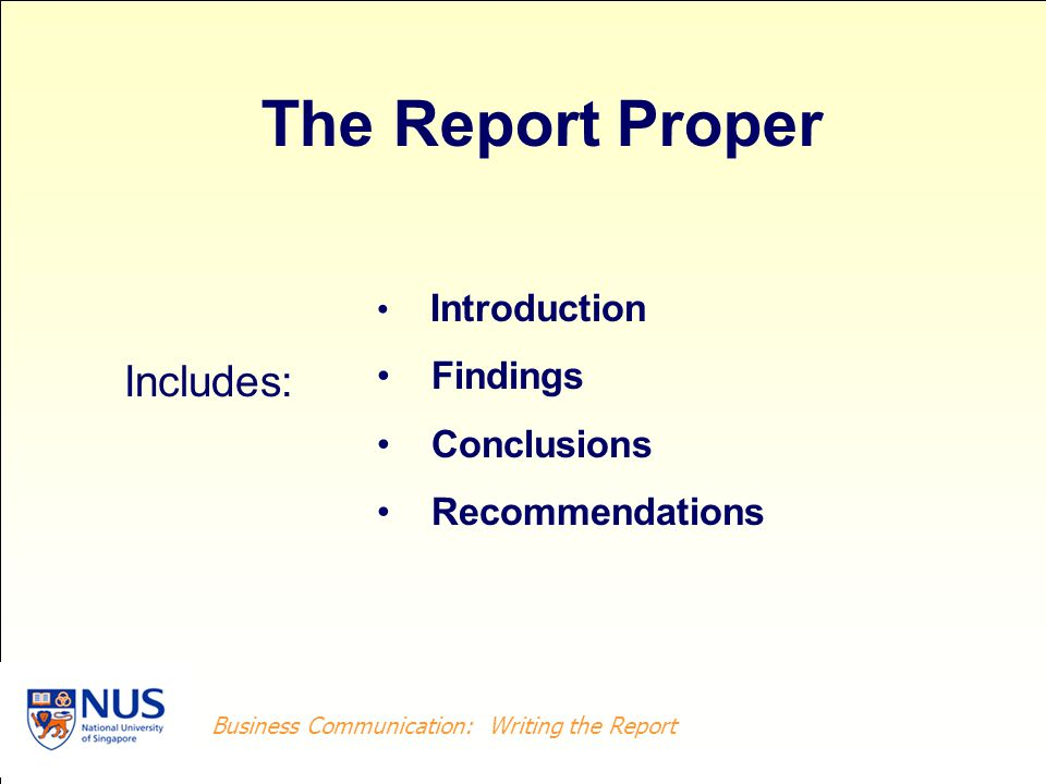 The Report Proper Includes: Findings Conclusions Recommendations