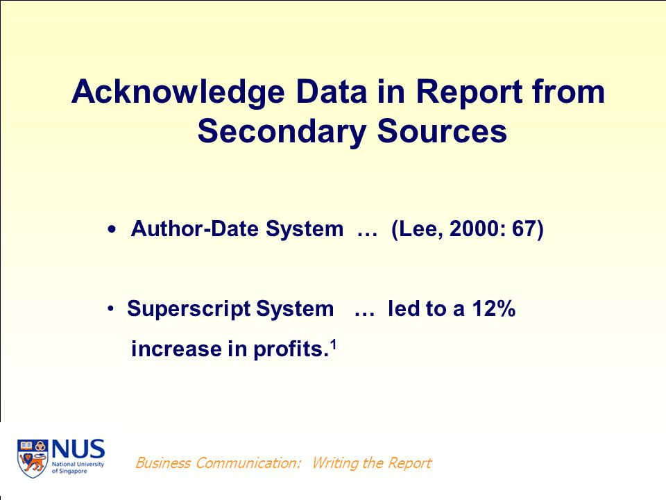 Acknowledge Data in Report from Secondary Sources
