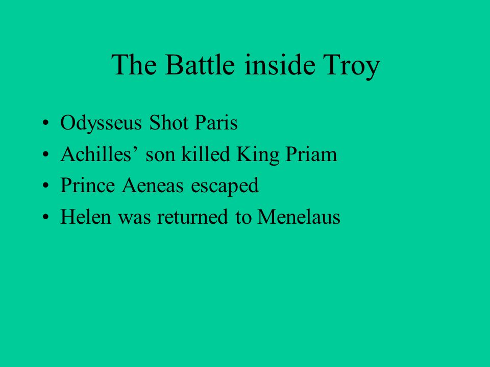 The Battle inside Troy Odysseus Shot Paris