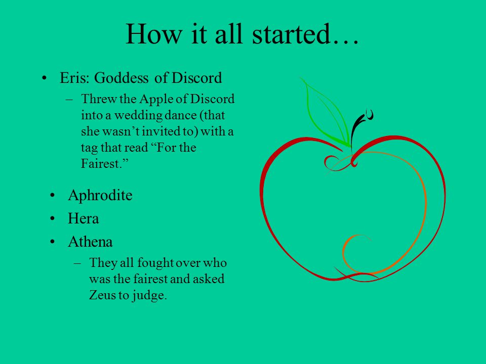 How it all started… Eris: Goddess of Discord Aphrodite Hera Athena