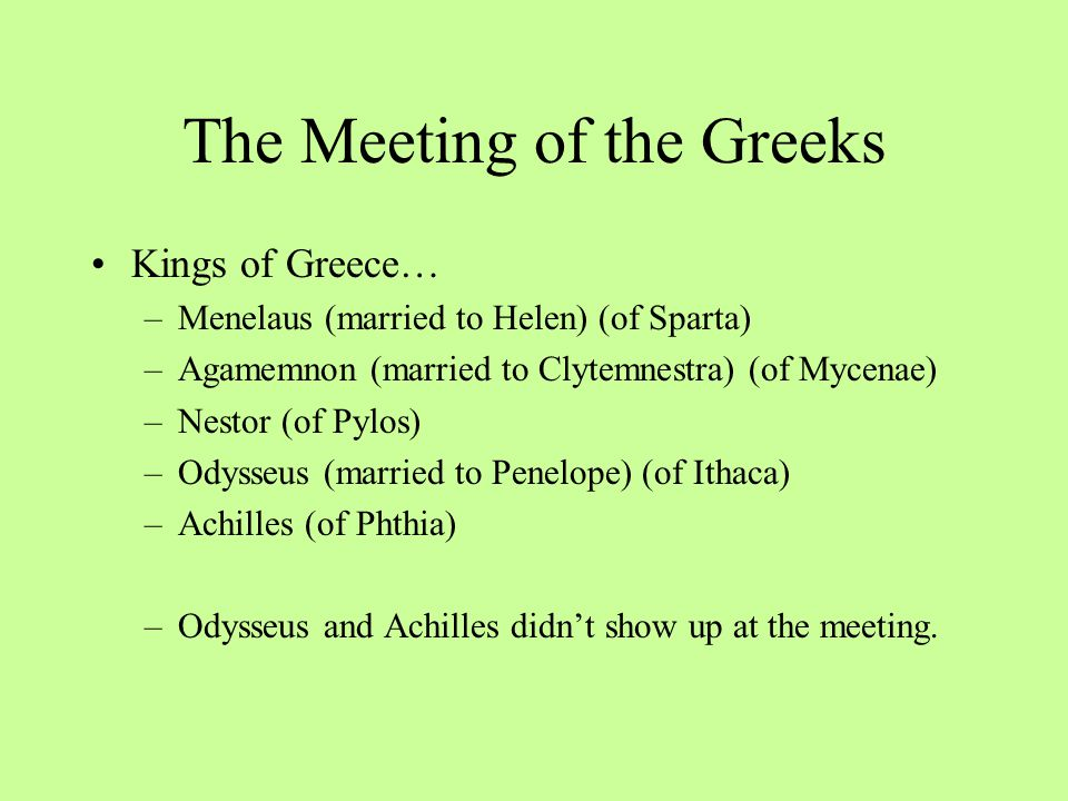 The Meeting of the Greeks