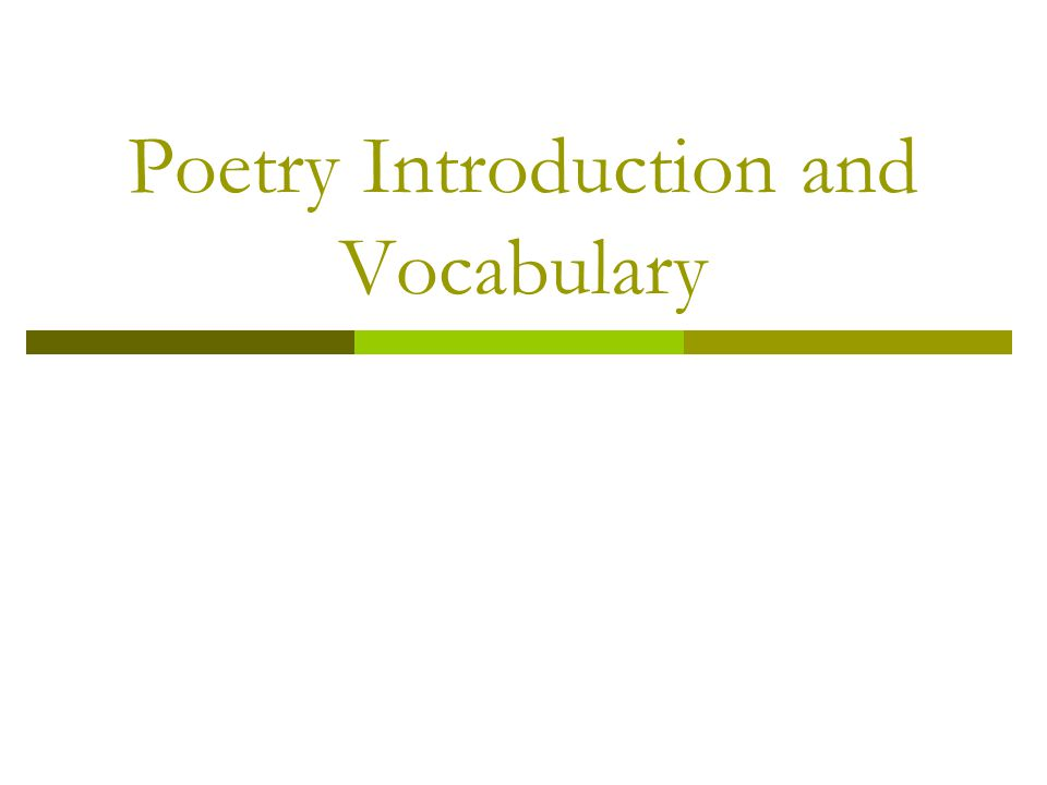 Poetry Introduction and Vocabulary