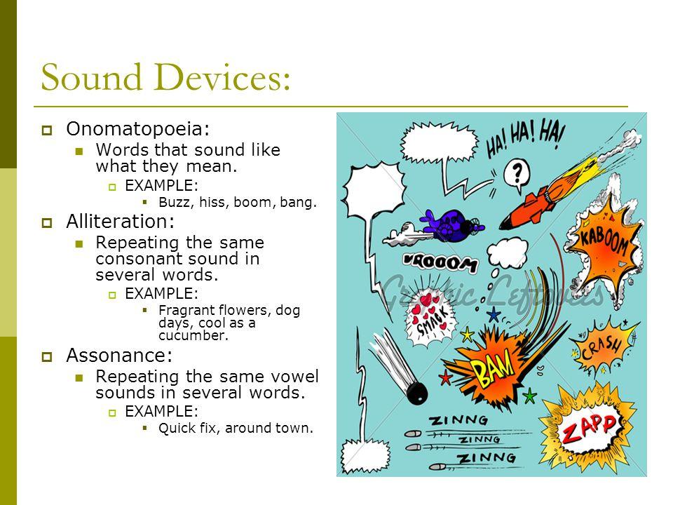 Sound Devices: Onomatopoeia: Alliteration: Assonance: