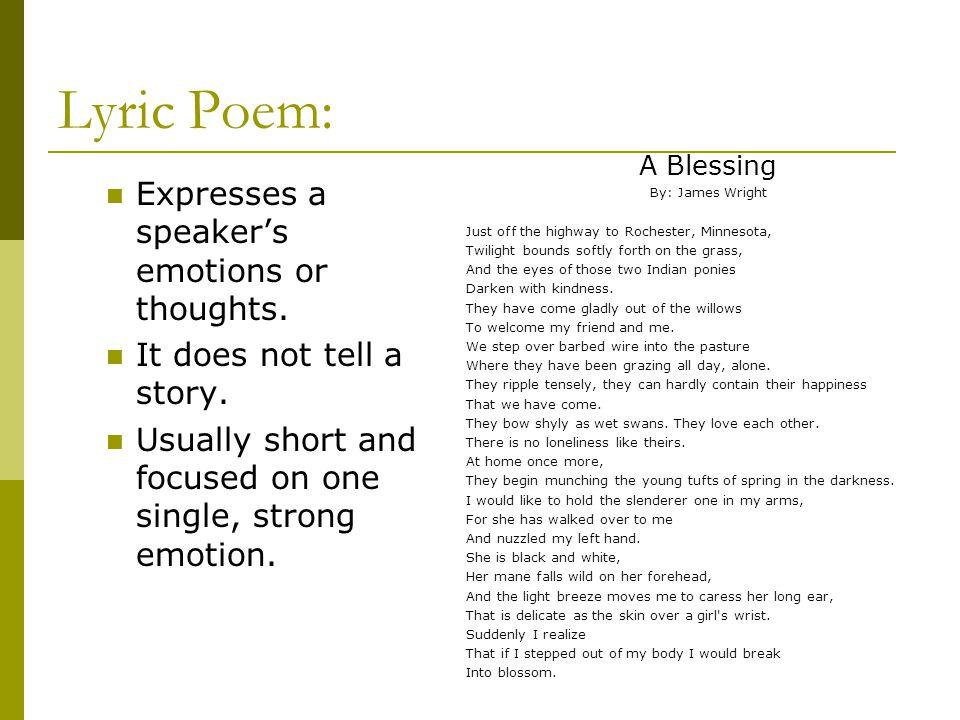 Lyric Poem: Expresses a speaker's emotions or thoughts.