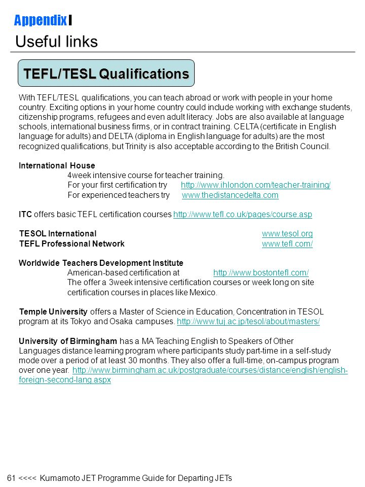 Useful links Appendix I TEFL/TESL Qualifications