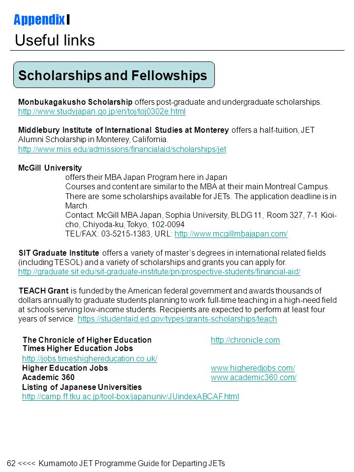 Useful links Appendix I Scholarships and Fellowships