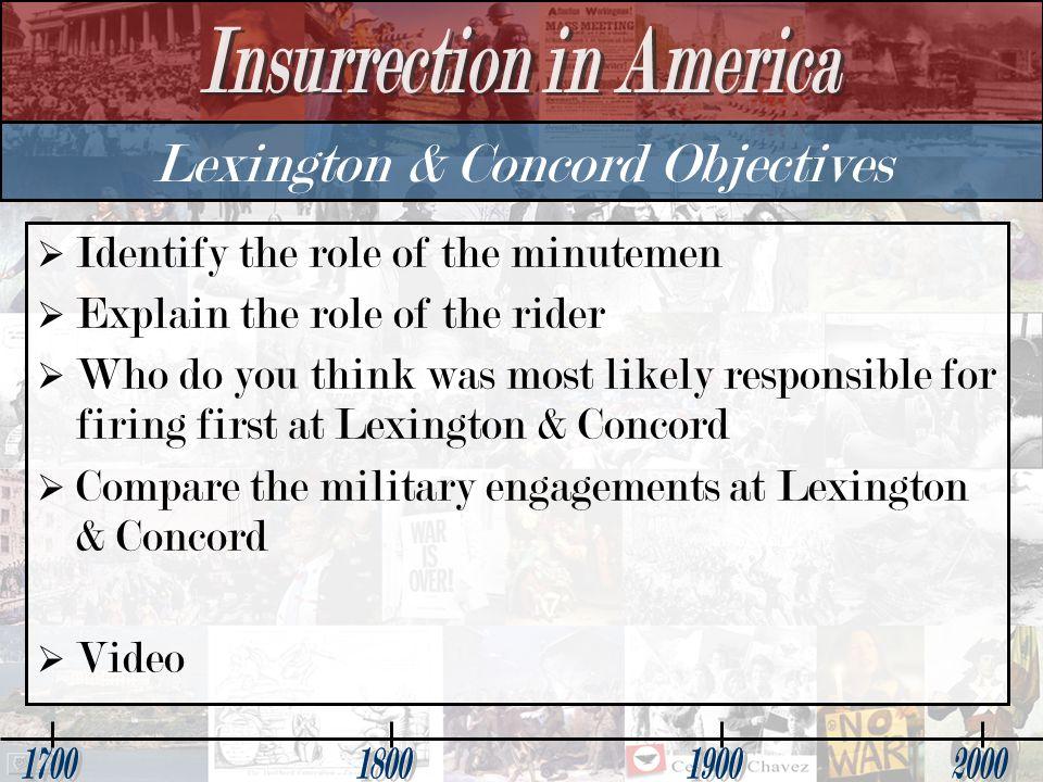 Lexington & Concord Objectives