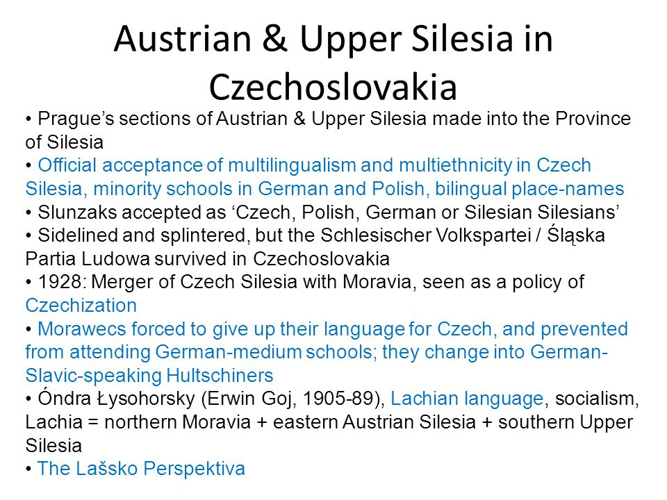 Austrian & Upper Silesia in Czechoslovakia