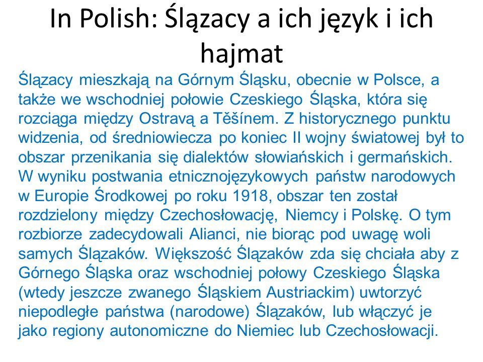 In Polish: Ślązacy a ich język i ich hajmat