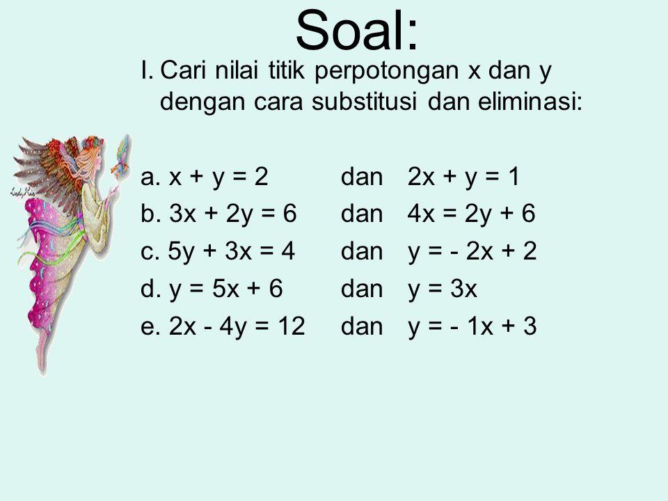 Soal: Cari nilai titik perpotongan x dan y dengan cara substitusi dan eliminasi: a. x + y = 2 dan 2x + y = 1.