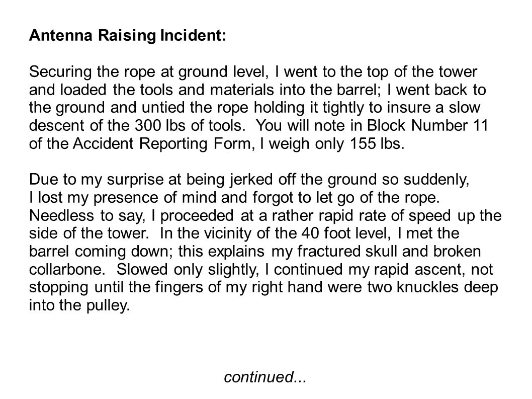 Antenna Raising Incident: