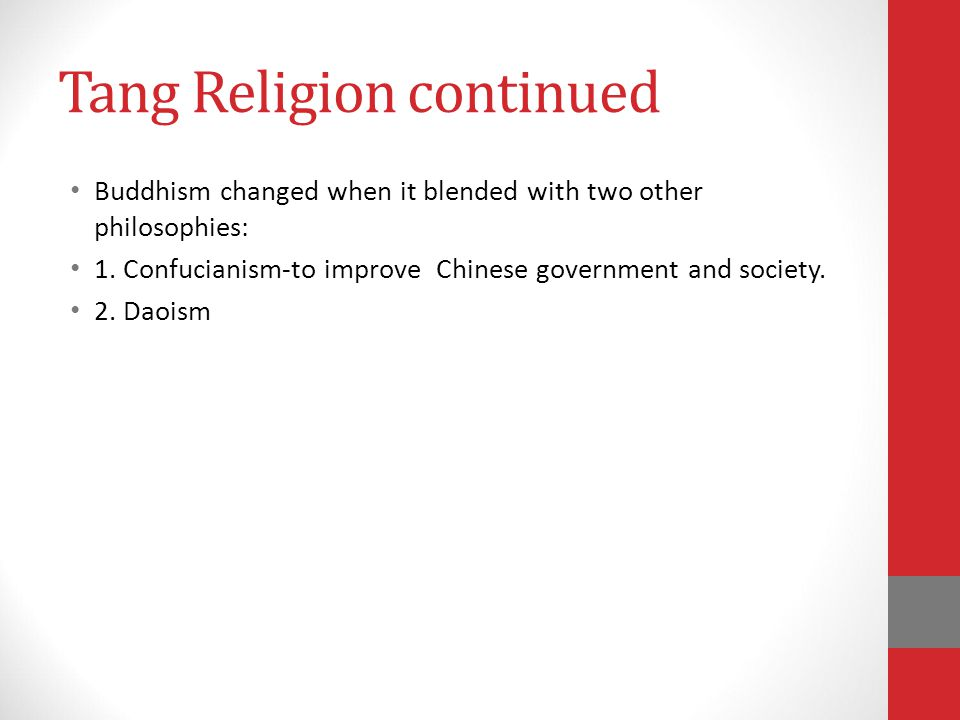 Tang Religion continued