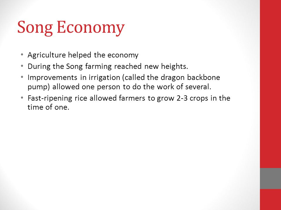 Song Economy Agriculture helped the economy