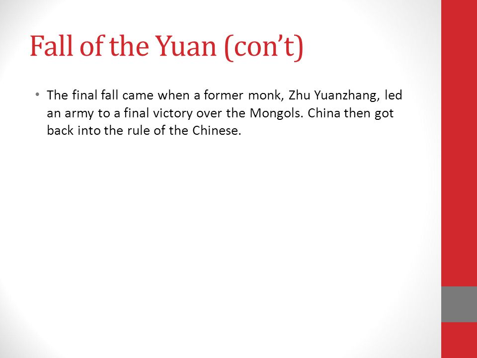 Fall of the Yuan (con't)