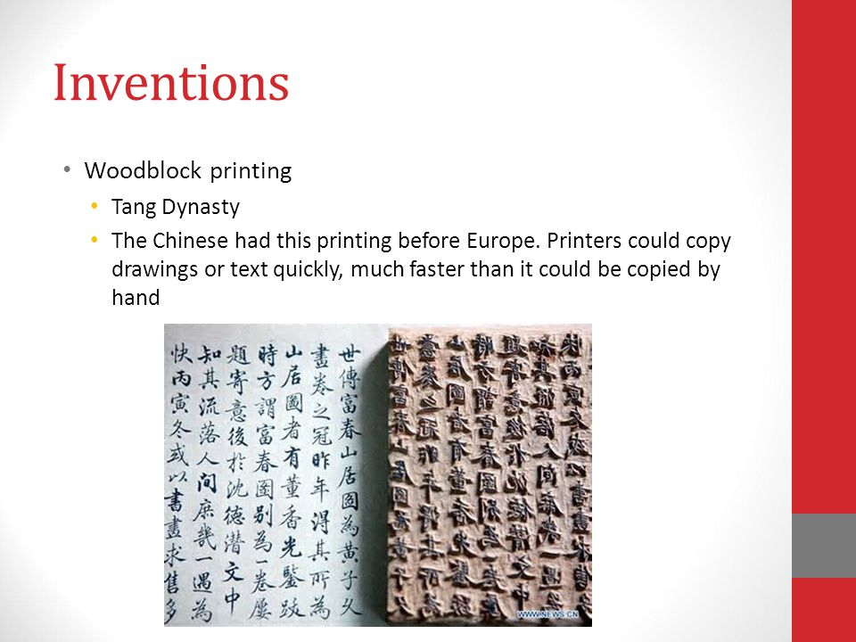 Inventions Woodblock printing Tang Dynasty