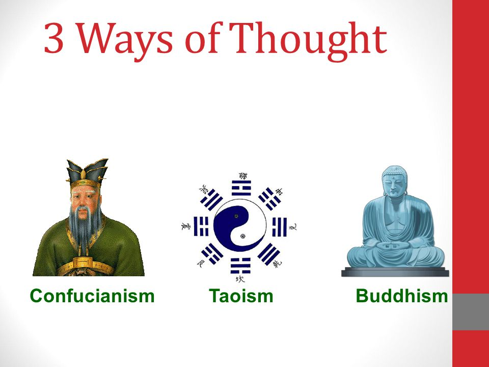 3 Ways of Thought Confucianism Taoism Buddhism