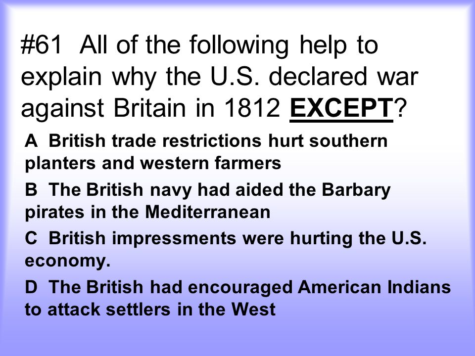 #61 All of the following help to explain why the U. S