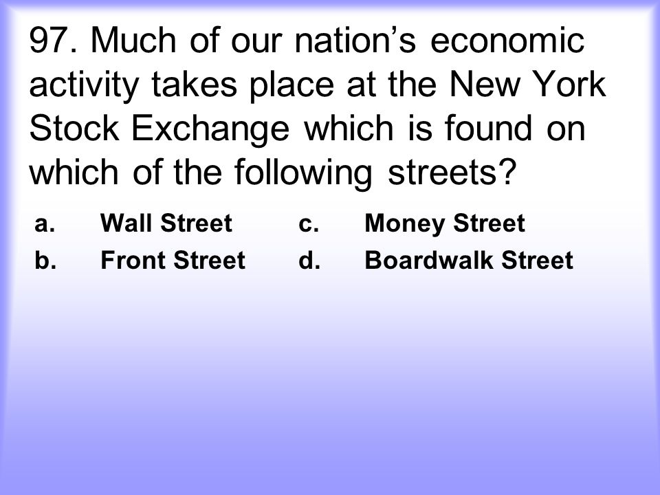 a. Wall Street c. Money Street b. Front Street d. Boardwalk Street