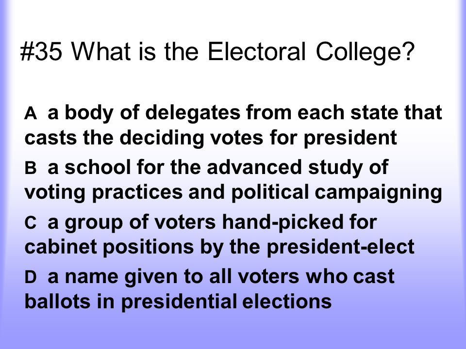 #35 What is the Electoral College