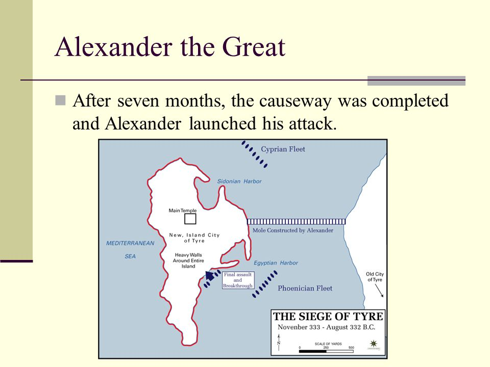 Alexander the Great After seven months, the causeway was completed and Alexander launched his attack.