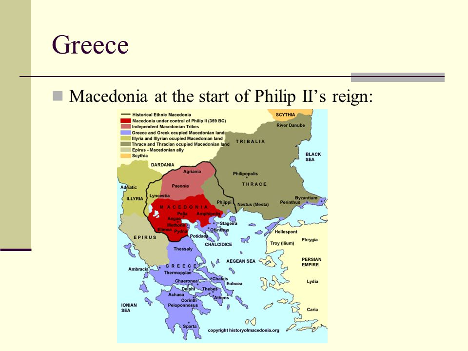 Greece Macedonia at the start of Philip II's reign: