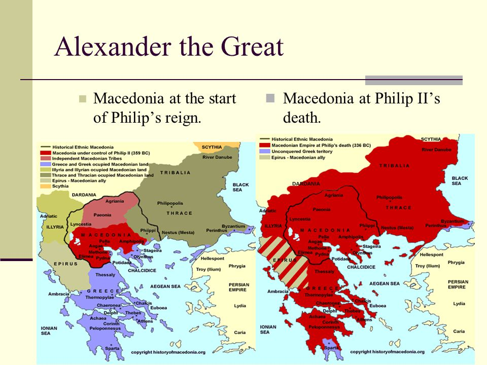 Alexander the Great Macedonia at the start of Philip's reign.