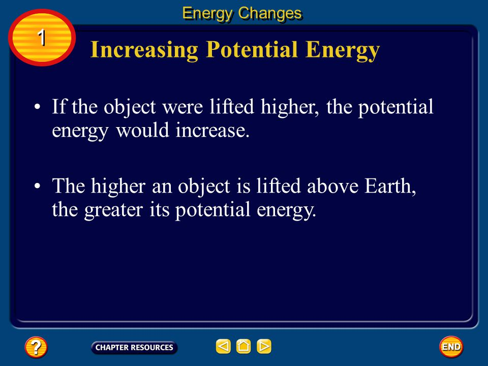 Increasing Potential Energy