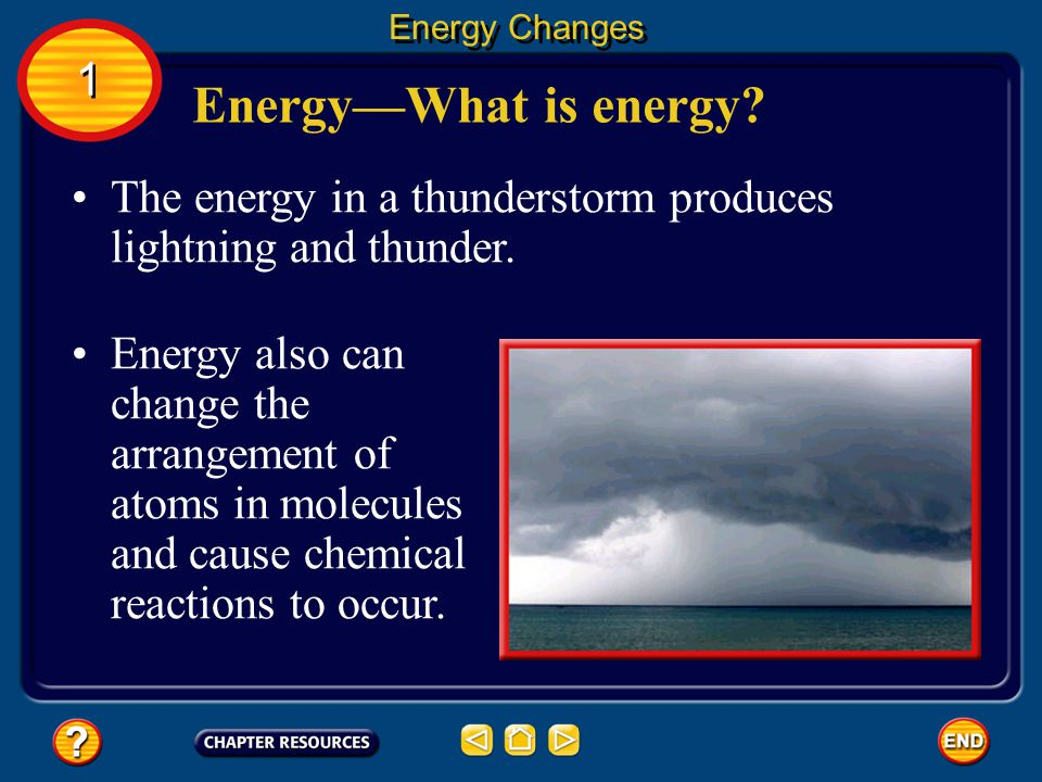 Energy Changes 1. Energy—What is energy The energy in a thunderstorm produces lightning and thunder.